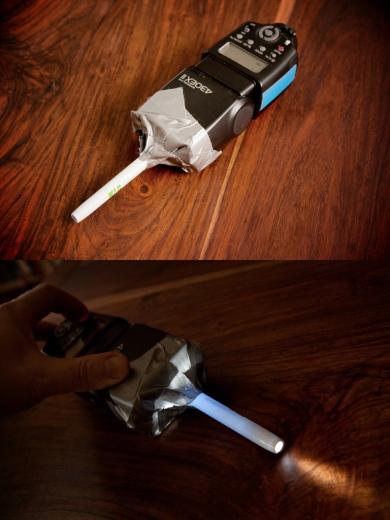 Lichtpinsel für die Schoki, aus einem 430 EX II, im Modeling-Flash-Betrieb
