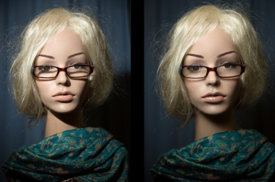 Porträt, links ohne, rechts mit Disc