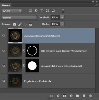 Der entstandene Ebenenstapel in Photoshop