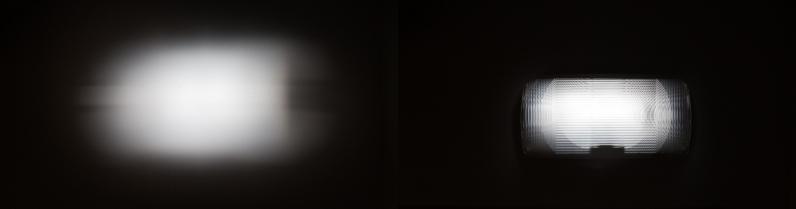 Ein Lichtpunkt an der Wand, links nur mit dem Snoot projiziert, rechts mit Snoot und Objektiv im Snoot (Abstand knappe zwei Meter, die Projektion rechts ist dann ca. 35 cm auf 70 cm groß).