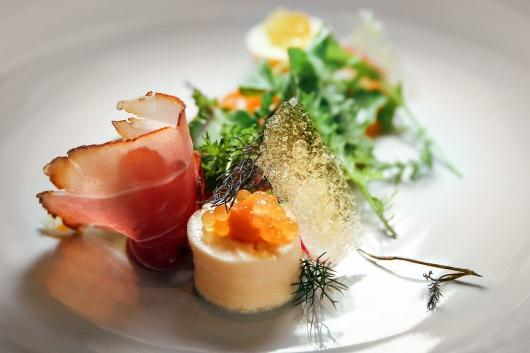 Kürbis-Mousse mit Saiblingskaviar